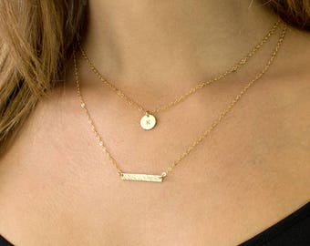 Personalized Layering Set, Delicate Gold Initial Necklace, Layered Necklace Set, Gold Bar Necklace for Her, Gift for Her,LEILAJewelryShop