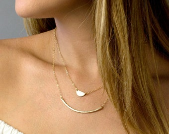 Curved Bar Necklace,Hammered Bar Layering Necklace,Minimal Necklace,Layering Necklace,Gold, Silver, Rose Gold, Gift for Her, Bridesmaid Gift