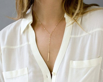 Dainty Lariat Necklace, Gold Lariat, Gold Y Necklace, Gold Layering Necklace, Hammered Bar Necklace,14k Gold Fill, Sterling Silver,Rose Gold