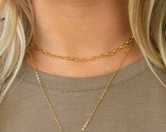 Gold Oval Link Choker Necklace, Gold Dainty Chain Choker, Boho Choker, Layering Choker, 14K Gold Filled, Gift for Her, LEILAJewelryshop