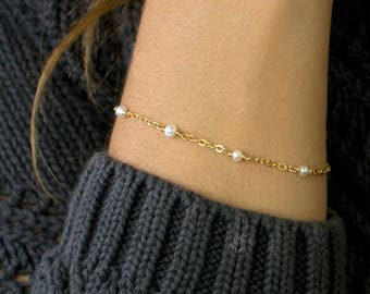 Custom Birthstone Bracelet, Thin Gold Chain Bracelet, Delicate Gemstone Bracelet, Boho Bracelet, Beaded Bracelet, LEILAjewelryshop