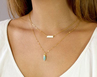 Mini Choker Necklace, Skinny Mini Bar Necklace, Initial Necklace, Tiny Choker Necklace,Gold Fill, Silver, Gift For Her,LEILAJewelryShop,N214