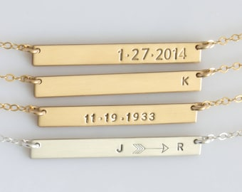 Personalized Skinny Bar Necklace/ Gold Filled Custom Hand Stamped Necklace/ Personalized Jewelry/Sterling Silver/Gift for Wife/Date Necklace