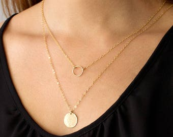 Dainty Circle Necklace, Gold Circle Necklace, Karma Necklace, Gift for her, 14k Gold Fill, Sterling Silver, LEILAjewelryshop, N200