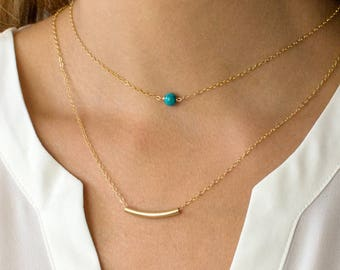 Curved Bar Necklace, Delicate Gold Necklace, Curved Tube, Bar Necklace, Gold Chain, 14k Gold Fill, LEILAjewelryshop, N206