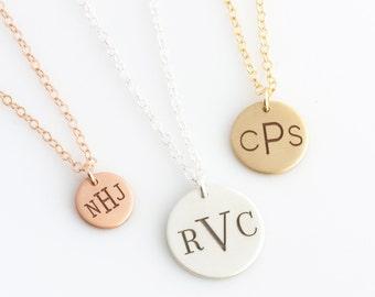Monogram Necklace, Personalized Gift, Engraved Necklace, Gold Disc Necklace, Gift for Her, BoHo Necklace, Layered Necklace, LEILAjewelryshop