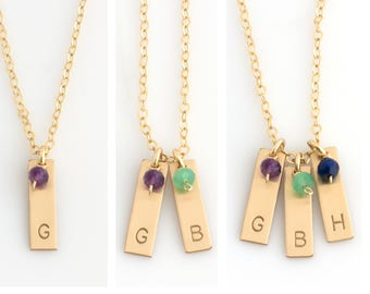 Custom Birthstone Necklace for Mom/Personalized Initial Necklace/Mini Letter/Family Tree Necklace for Grandma/Family Necklace/Gift for Mom
