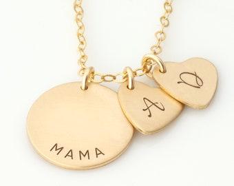 Personalized Heart Necklace, Custom Family Tree Necklace, Kids Initials Heart Necklace, Grandma Necklace with Initials, Heart Necklace