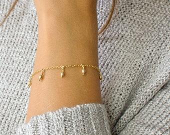 Dew Drop Bracelet, Dainty Gold Charm Bracelet, Delicate Bracelet, Layering Bracelet, Gold Fill Chain, Silver Chain, LEILAjewelryshop