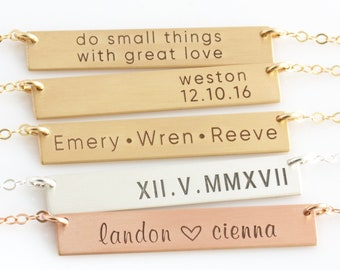 Personalized Gift for Mom, Name Necklace, Gold Bar Necklace, Name Plate Necklace, Initial Necklace, Personalized Bar Necklace