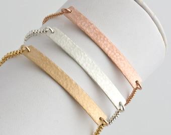 Bar Bracelet,Hammered Bar Bracelet,Gold,Silver, Rose Gold Bracelet,Minimal Layering Bracelet,Bridesmaid Gift, Gift for Her, LEILAJewelryShop