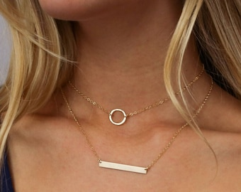 Hammered Gold Circle Necklace, Minimalist Necklace, Circle Necklace, 14k Gold Fill, Sterling Silver, Gift for her, LEILAjewelryshop