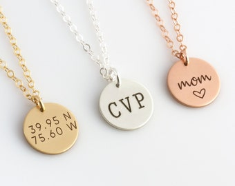 Dainty Engraved Disc Necklace, Personalized Disc Necklace, Engraved Monogram Necklace, 14K Gold Fill, Mothers Day Gift, LEILAJewelryShop