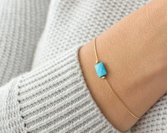 Turquoise Howlite, Amethyst, African Jade Gemstone, Healing Crystal Chakra Bracelet, February Birthstone, December Birthstone, Gift for Her