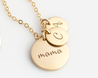 Gold Disc Necklace for New Mom - Mom Necklace - Personalized Necklace for Mom - Birth Flower Mom Necklace - Kids Initials Necklace