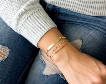 Gold Bar Bracelet/Hammered Bar Bracelet/Real Gold/Skinny Hammered Bracelet/Gold Fill Sterling Silver Rose Gold Fill Gifts for Her/Holiday