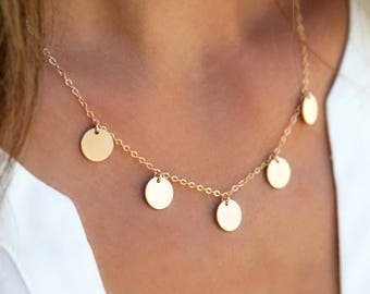 Multiple Disc Charm Necklace,Dainty Layering Necklace,Charm Disc Necklace,14k Gold Fill,Sterling Silver,Gifts for Her, LEILAjewelryshop,N281