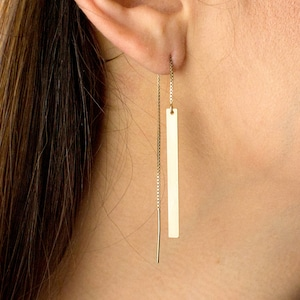 Long 925 Sterling Silver and Brushed Copper Threader Earrings in a Gift Box