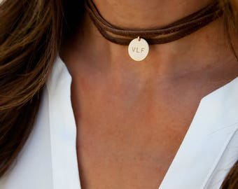 Leather Wrap Boho Choker, Personalized Leather Choker, Leather and Gold Choker, Sterling Silver,Gold Fill,Gift for Her LEILAjewelryshop,N236