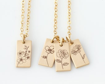 Personalized Birth Flower Necklace, Mom Necklace, Birth Month Flower Necklace, Flower Necklace, Rose, Poppy Necklace, Mother's Day Gift