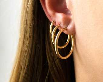 Thick Hoop Earrings, 14K Gold Filled Hoops, Classic Hoop Earrings, Gold Hoop Earrings, Everyday Hoop Earrings, Gifts For Her