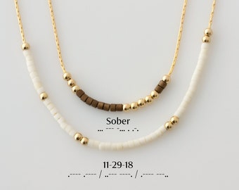 Sobriety Necklace, Personalized Morse Code Sobriety Necklace, Recovery Gift, Alcohol Anonymous Jewelry, Sober Date, Encouragement Gift