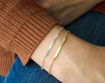 Personalized Bar Bracelet, Gold Baby Bracelet, Dainty Personalized Bracelet, Personalized Baby Jewelry, Flower Girl Bracelet, Gift for Her