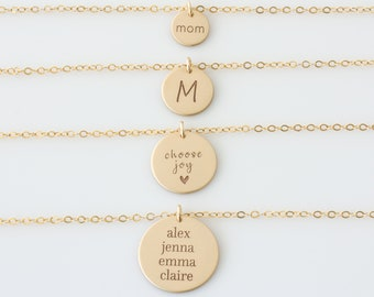 Gold Disc Necklace, Monogram Necklace Gold, Hand Stamped Initial Necklace, Sterling Silver 14K Gold Fill, Gift for Her, LEILAjewelryshop