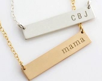Personalized Bar Necklace, Personalized Nameplate Necklace, Gold Bar Necklace for Her, Gift for Her, Gold Silver Bar, LEILAjewelryshop