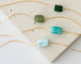 Gemstone Necklace, Raw Stone Necklace, Gold Choker, Layering Necklace, Amazonite, Larimar, Opal October Birthstone, Green Garnet Necklace