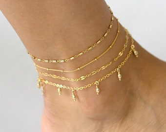 Gold Chain Anklet, Dainty Chain Anklet, Delicate Anklet for Women, Satellite Anklet, Beaded Anklet, Tube Anklet, Lace Chain Anklet