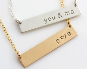 Personalized Bar Necklace, Personalized Nameplate Necklace, Gold Bar Necklace for Her, Gift for Her, Gold Silver Bar, LEILAjewelryshop, N220