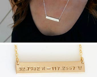 Custom Coordinates Necklace, Personalized Gold Bar Necklace, Custom Location Jewelry, Gold Fill, Sterling Silver, LEILAjewelryshop, N263