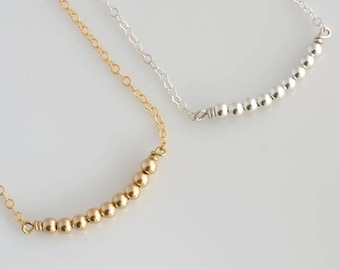 Gold Beaded Bar Necklace, Delicate Gold Layering Necklace, Silver Layering Necklace, Everyday Necklace, Gift for Her, LEILAJewelryshop, N277