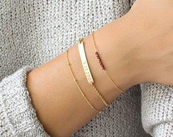 Gold Bar Bracelet, Personalized Bar Bracelet, Skinny Bar Bracelet, Custom, Gold Fill, Sterling Silver, Gifts for Her, Bridesmaid Gift, B203
