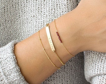 Gold Bar Bracelet, Personalized Bar Bracelet, Skinny Bar Bracelet, Custom, Gold Fill, Sterling Silver, Gifts for Her, Bridesmaid Gift