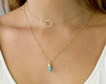 Crystal Point Necklace, Minimal Crystal Necklace, Delicate Layering Necklace, Blue Opal, Christmas Gift, Gift for Her, Bridesmaid Gift, N301