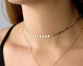 Gold Choker Necklace, Gold Coin Choker, Gold Tattoo Choker, Dainty Chain Choker, Boho Choker, Sterling Silver or 14K Gold Filled, N203