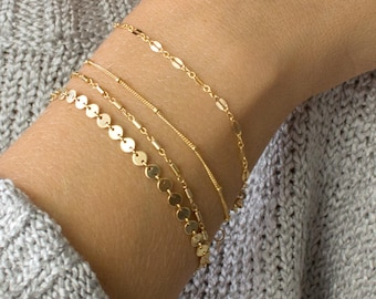 Dainty Chain Bracelet, Delicate Bracelets for Women, Layering Bracelet, Gold Chain, Coin, Tube, Lace, Satellite Chain, LEILAjewelryshop,B201
