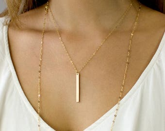 Vertical Bar Necklace, Personalized Vertical Bar Necklace, Custom Vertical Bar Necklace, Gold Fill, Sterling , Rose Gold, Gifts for Her,N228