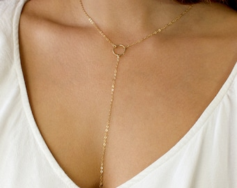 3f0ce305921f4b Open Circle Lariat, Gold Y Necklace, Long Gold Necklace, Simple Y Necklace,  14k Gold Fill, Sterling Silver, LEILAjewelryshop, N202