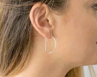 Geometric Hoop Earrings, D Shaped Hoops, Semi Circle Earring, Modern Boho Earrings, 14K Gold Fill Wire Earring, Sterling Silver,Gift for Her