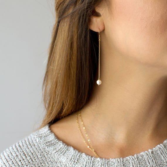 Baroque Pearl 18K Gold Long Tassel Drop Dangle Earrings for Women Statement Snake Chain Dainty Bridal Earrings for Wedding