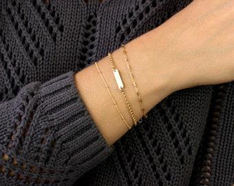 Personalized Bar Bracelet, Custom Bar Bracelet, Initial Gold Bar Bracelet,  Bridesmaid Gift, Gold Baby Bracelet, Mini Bar Baby Bracelet