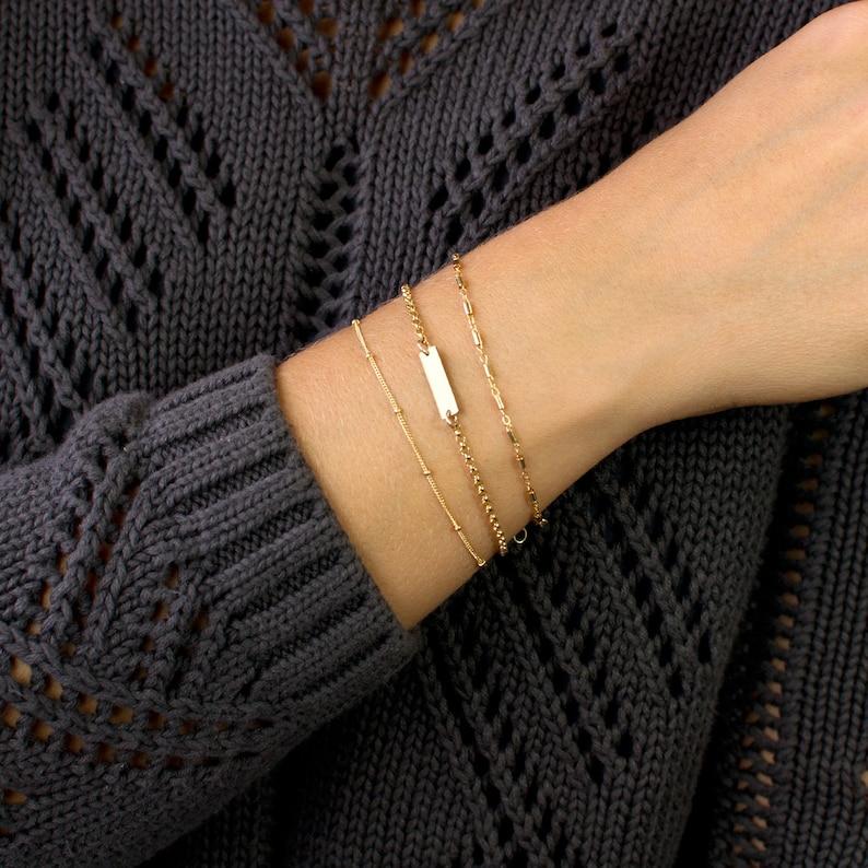 Personalized Bar Bracelet Custom Bar Bracelet Initial Gold image 1