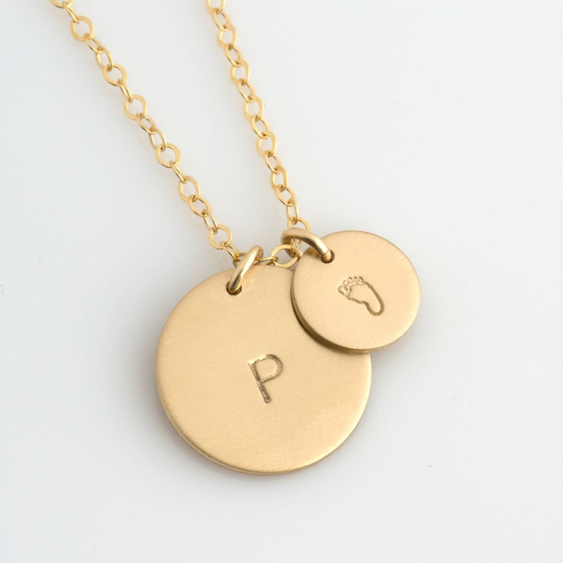 c680e6194308b Gold Disc Necklace for New Mom/Personalized Circle Necklace for Mothers/New  Mom Gift/Custom Hand stamped/Kids Initial/Gift for Her/N212