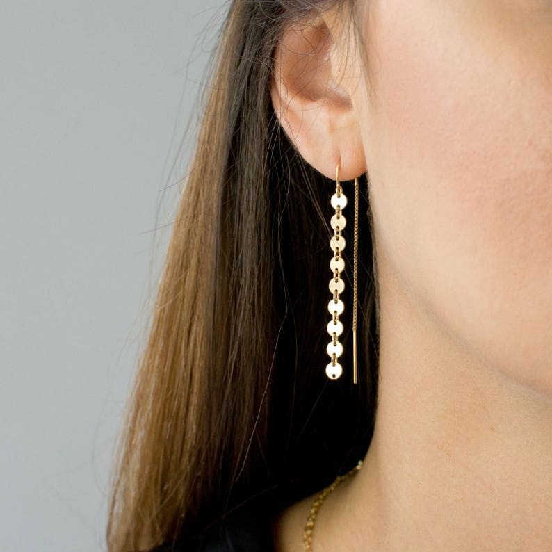 Gold Coin Threader Earrings Long Dangle Earrings Minimalist image 0