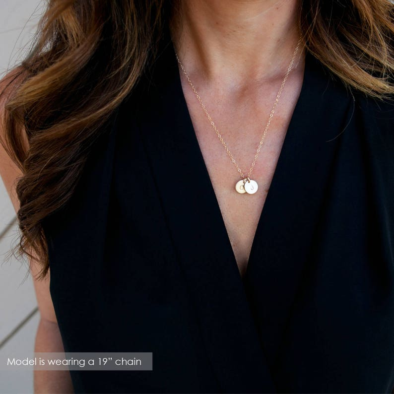 Gold Initial Necklace Dainty Disc Necklace Small Letter image 0