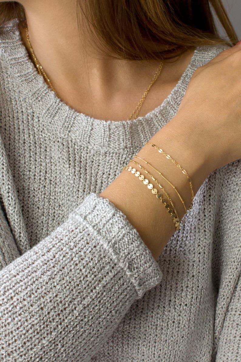 Dainty Chain Bracelet Delicate Bracelets for Women Layering image 0