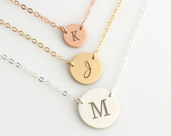 Personalized Gold Disc Necklace, Initial Disk Necklace, Double Hole, Minimalist Necklace, Sterling Silver, Gold Jewelry, Gift for Her, N300